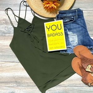 Army green lace up strappy tank